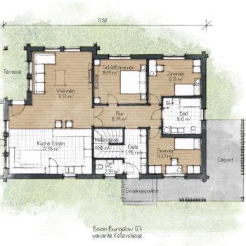 BISON Bungalow 123 mit Stiege Grundriss